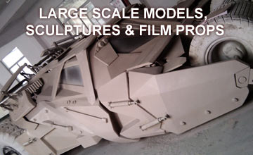 Large scale models, sculptures and film props
